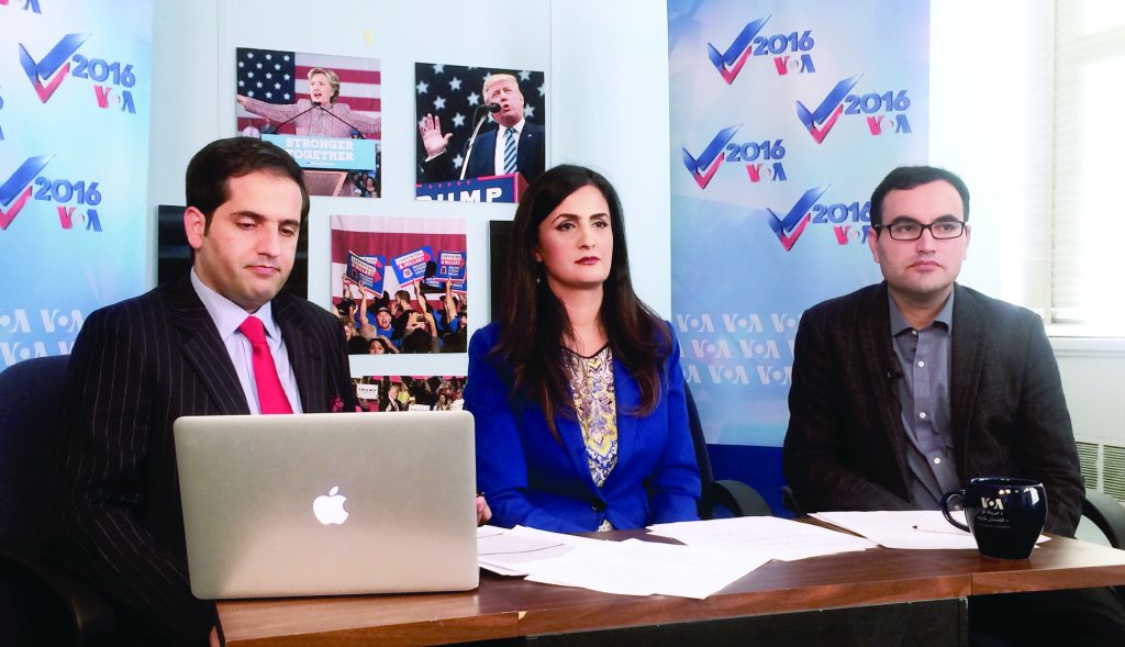 RFE/RL Mashal Radio's reporter Bashir Ghwakh with VOA presenters at a Facebook Live event.